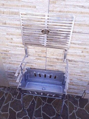 ( Nova) Churrasqueira Grande Desmontável Alumínio + Grelha - Foto 4