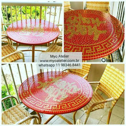 Conjunto mesa mosaico felicidade em dobro