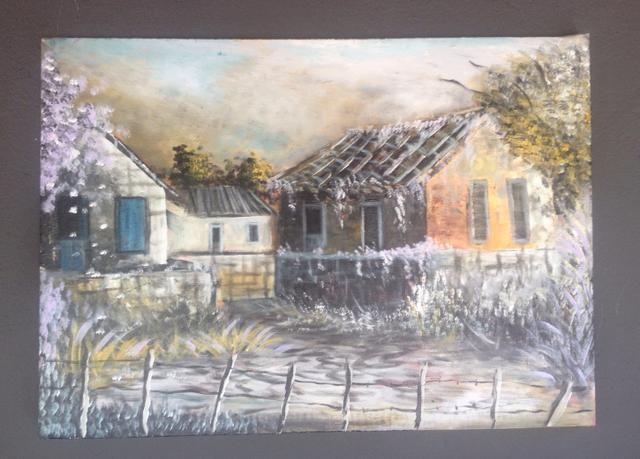 Pintura óleo sobre tela paisagem rural