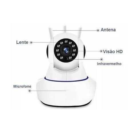 Câmera Ip 3 Antenas Wireless Sem Fio Onvif Wifi Hd Sensor Noturna Rotação App Smartphone - Foto 5