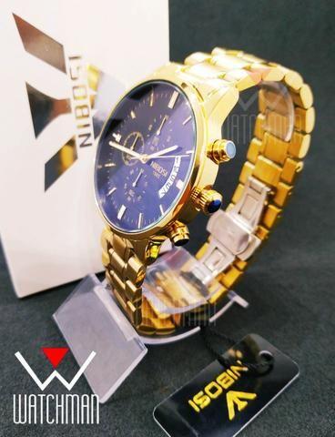 bbac1161bd5 Relógio masculino Nibosi Luxo dourado aço inox vidro safira cronógrafo  calendário