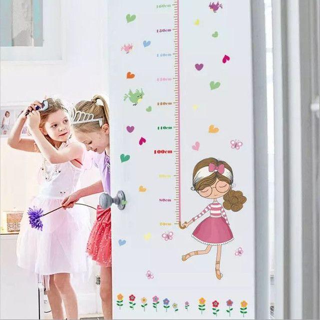 Adesivo de parede régua crescimento de meninas  - Foto 4