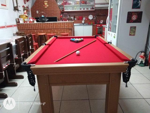 Mesa Tentação Caçapa Redes Cor Cerejeira Tecido Preto e Borda Verde Mod. CHHB9120 - Foto 3