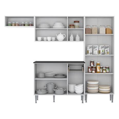 Cozinha Completa Compacta Xangai Plus Multimóveis Branco/Fumê - Foto 3