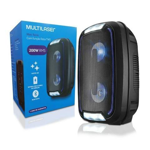 Caixa de Som Mini Torre Party Tws Bluetooth 5.0 Sp336 Multilaser 200W Rms Luzes Led Usb