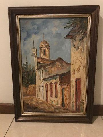 Quadro Pintura a Óleo (Rua de Ouro Preto/MG)