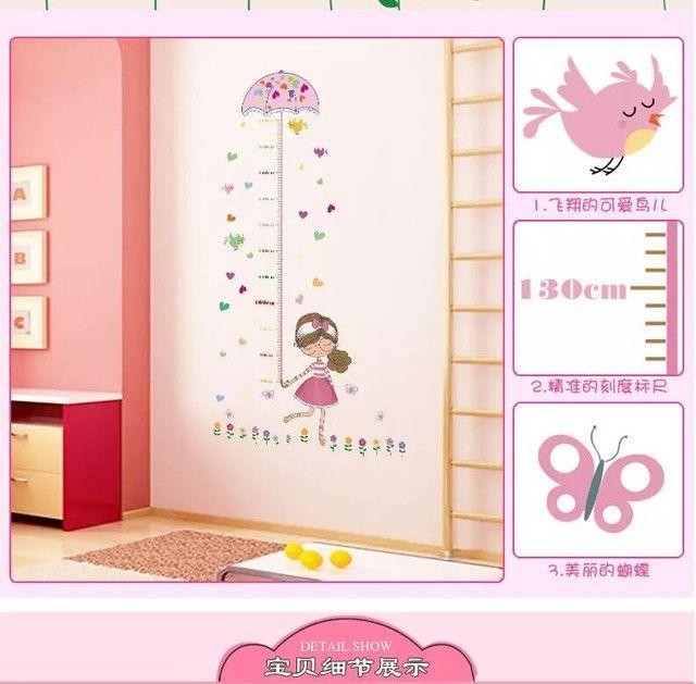 Adesivo de parede régua crescimento de meninas  - Foto 5