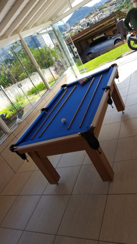 Mesa Tentação MDF Cor Cerejeira Tecido Azul Mod. TDIP4639 - Foto 2