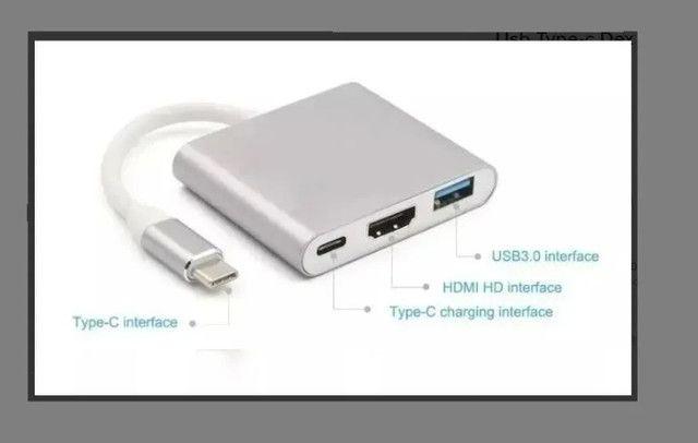 Conversor USB Tipo C para Hdmi Hub Tipo C Multi Função Funciona em MAC- Loja Natan Abreu - Foto 3