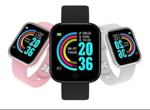 Relógio Inteligente Smartwatch Y68/D20 Bluetooth Android/ios - Preto, Prata e Branco