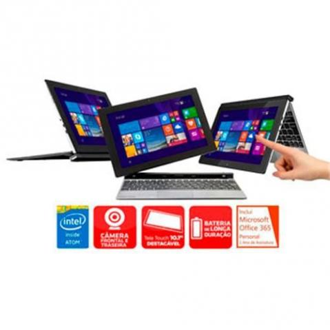 "Notebook 2 em 1 Positivo Quad Core 1GB 16GB SSD Tela 10.1"" Windows 8.1 Duo ZX3020"