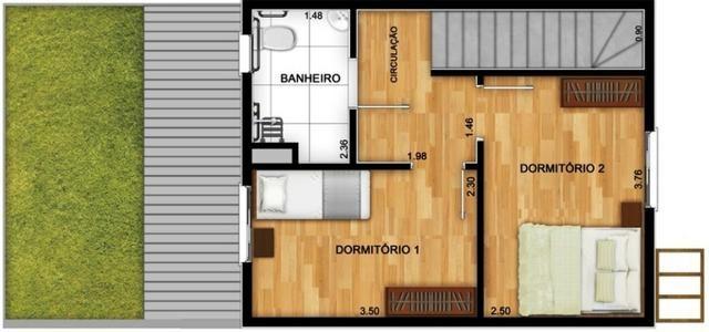 Casas de 50m² - 2 dormitorios - quintal de 12m² nos fundos - 1 vaga de garagem, com lazer - Foto 7