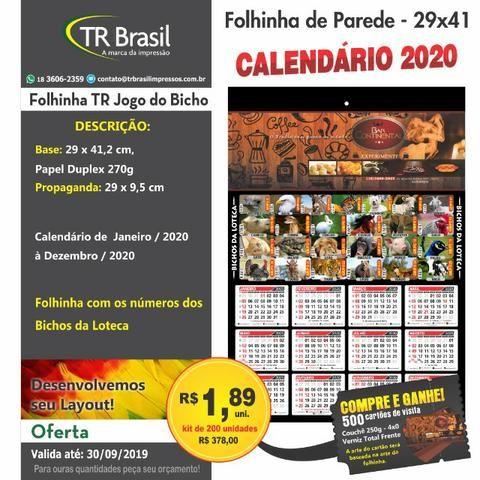 Calendario 2020 Pdf Brasil.200 Calendario Folhinha Jogo Do Bicho 29x41