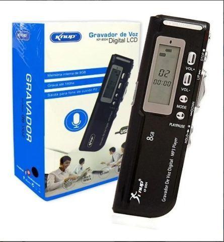 Gravador de Voz Digital LCD Áudio 8gb Knup Kp-8004