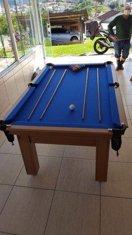 Mesa Tentação MDF Cor Cerejeira Tecido Azul Mod. TDIP4639 - Foto 3