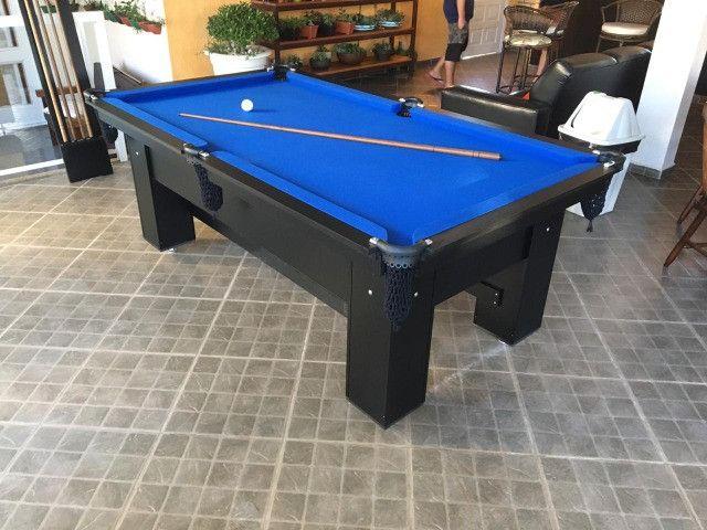 Mesa Charme de Sinuca Cor Preta Tecido Azul Mod. PNXC5260 - Foto 3