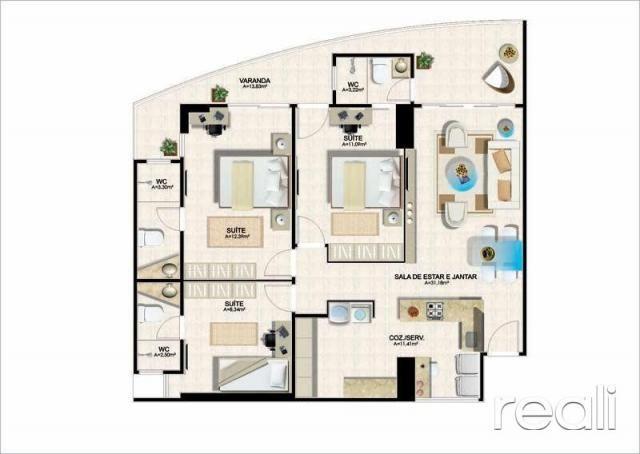Apartamento à venda com 3 dormitórios em Aldeota, Fortaleza cod:RL453 - Foto 12