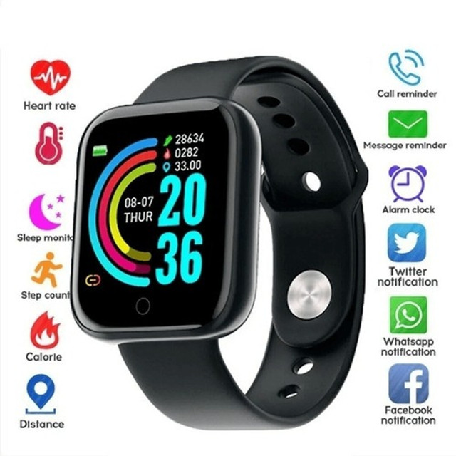 Relógio Inteligente Smartwatch Y68/D20 Bluetooth Android/ios - Preto, Prata e Branco - Foto 2