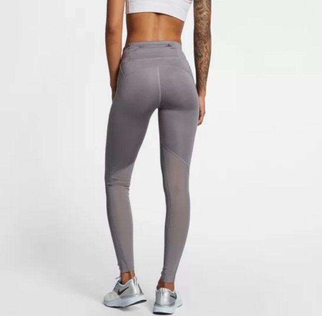 Calça Legging Nike Fast Tight Mr Feminina - Cinza+Prata GG - Foto 6