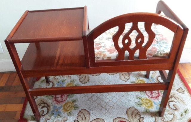 Mesa de Telefone Com Assento - em Madeira Maciça - Foto 5