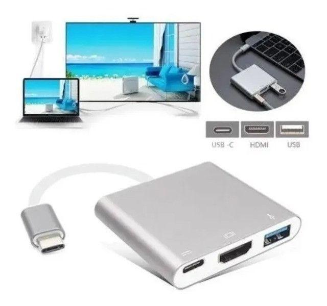 Conversor USB Tipo C para Hdmi Hub Tipo C Multi Função Funciona em MAC- Loja Natan Abreu - Foto 4