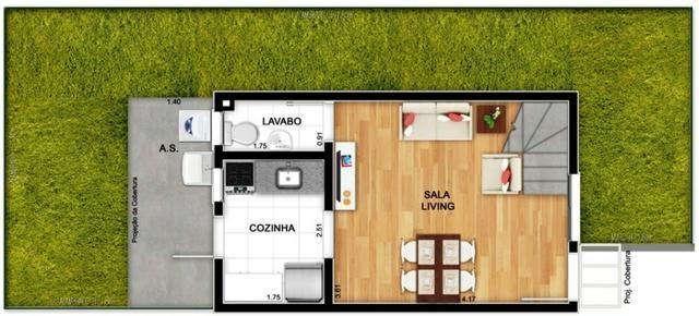 Casas de 50m² - 2 dormitorios - quintal de 12m² nos fundos - 1 vaga de garagem, com lazer - Foto 12