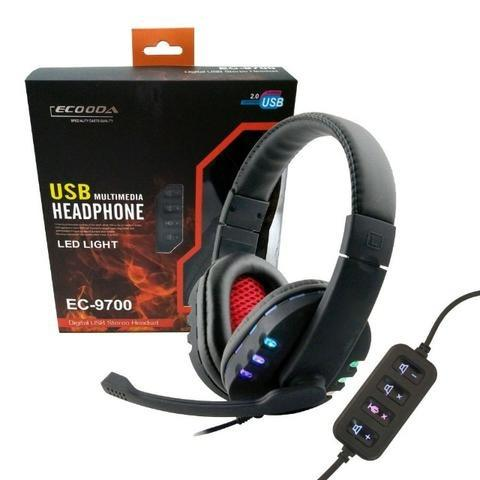 Fone Headset Headphone Gamer Ec-9700 Ecooda Usb 7.1 Stereo Microfone Volume Led