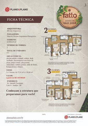 RS245.900,00 - Apartamento Fatto Torres de São José - Jundiaí - Lazer Completo - Na planta - Foto 3