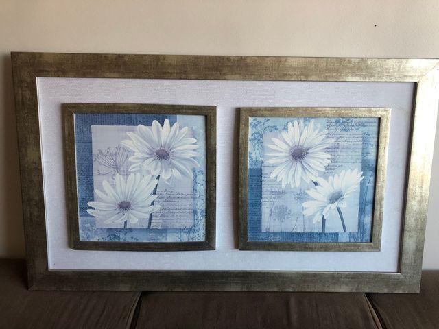 Quadro vintage flores brancas - Foto 3