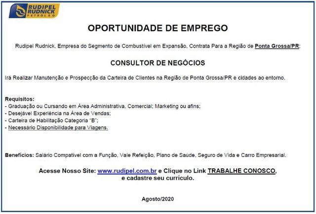 Oportunidade para Consultor de Negócios em Ponta Grossa/PR