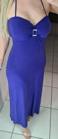 Vestido longo, pode ser usado c/ alça ou tomara q caia. Forrado, pedrarias no decote. - Foto 2