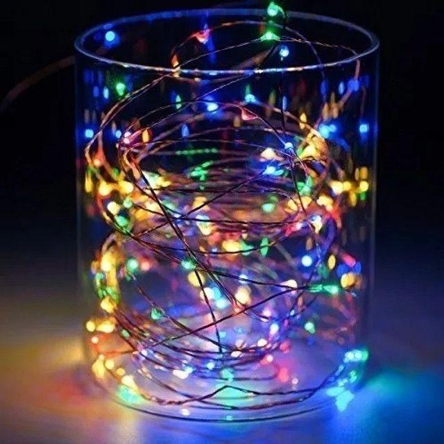 7888 - Fio Fada Cordão Luz Led Cores Natal 5m 100 Leds Pilha - Foto 2