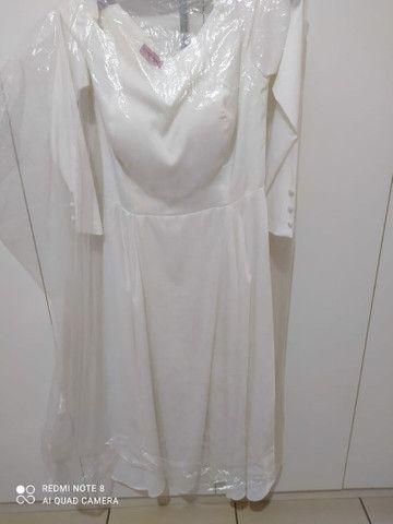 Vestido de noiva perolado finíssimo de grife novo! - Foto 6