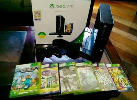 Xbox 360 + 7 jogos + controle original + Kinect