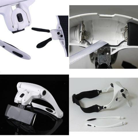 Lupa Cabeça Oculos Profissional Aumento Estetica Leitura Luz - Foto 6