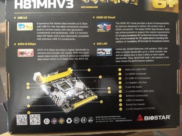 Kit Intel I5 4460 + 8gb Ram 1600mhz Corsair +biostar H81mhv3