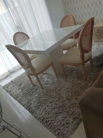Mesa Jantar Quadrada Em Mdf Branco Brilho Laca 120x120 - Foto 2