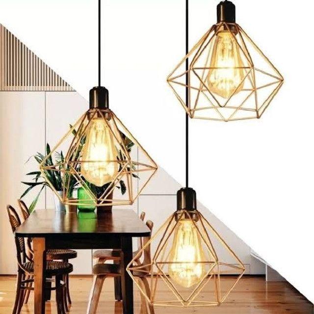 Pendente Aramado Diamante Triplo + Lâmpada LED Retrô - Foto 4