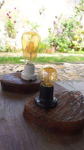 Luminária de mesa - em cubo ou tábua rústica  - Foto 2