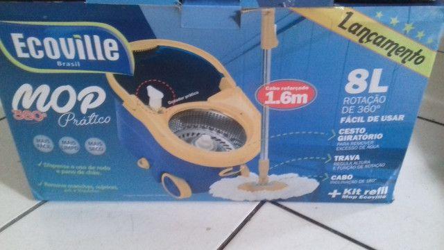 Mop prático 360° conjunto de balde espremedor inox - Foto 4