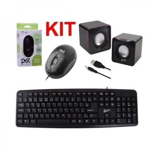 Kit Teclado+Mouse+Caixa de Som Usb Novo