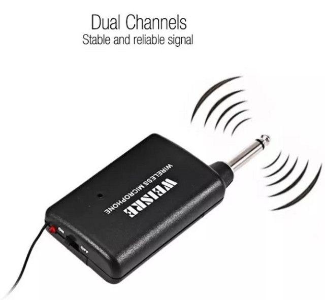 (NOVO) Microfone sem Fio Weisre Dm-3308a Transmissor Vhf - Foto 2