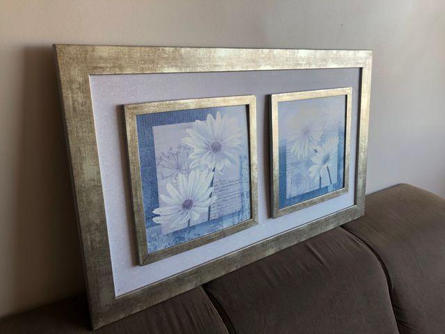 Quadro vintage flores brancas - Foto 2