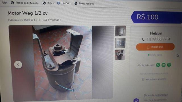 Motor 1/2 HP usado em máquina de lavar - Foto 2