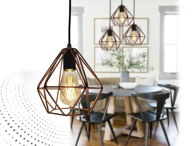 Pendente Aramado Diamante Triplo + Lâmpada LED Retrô - Foto 3