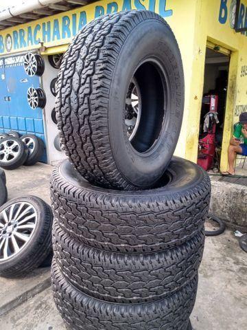 Vendo jogo de vc pneus semi novos 255/75/15 - Foto 4