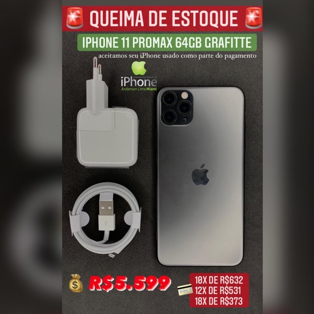 iPhone 11 PROMAX 64gb grafite super oferta