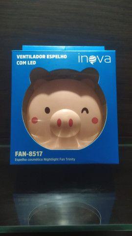 Mini Ventilador Espelho Led Usb Porquinho Rosa Fan-8517 - Foto 3