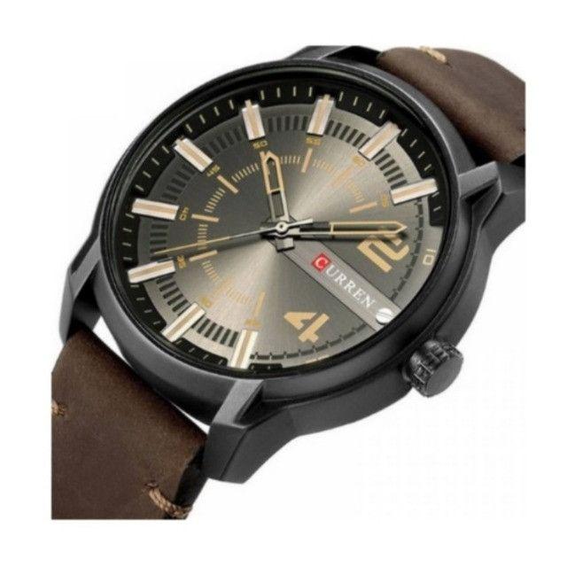 Relógio Marca Curren 8306 [Novo] Marron e Preto Analógico - Foto 2