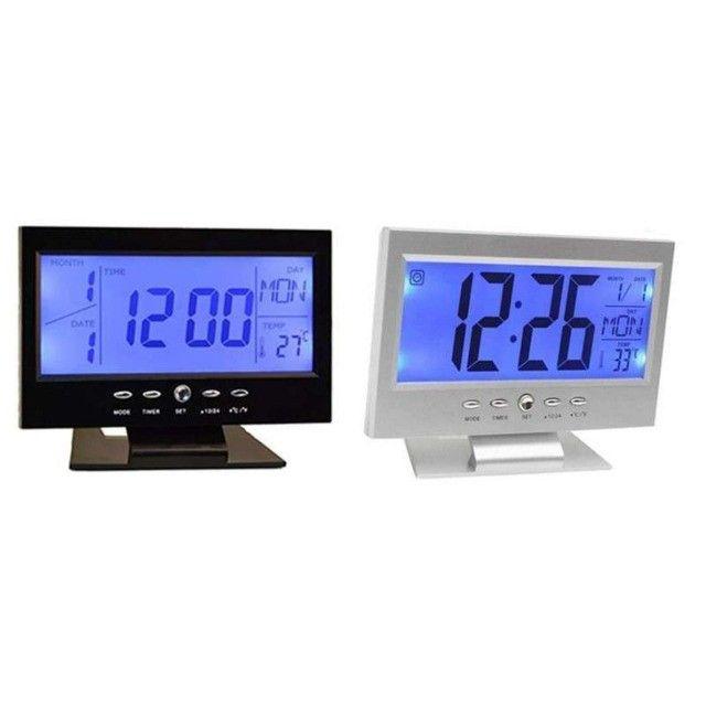 Relógio De Mesa Digital Despertador Temperatura Preto - Foto 3